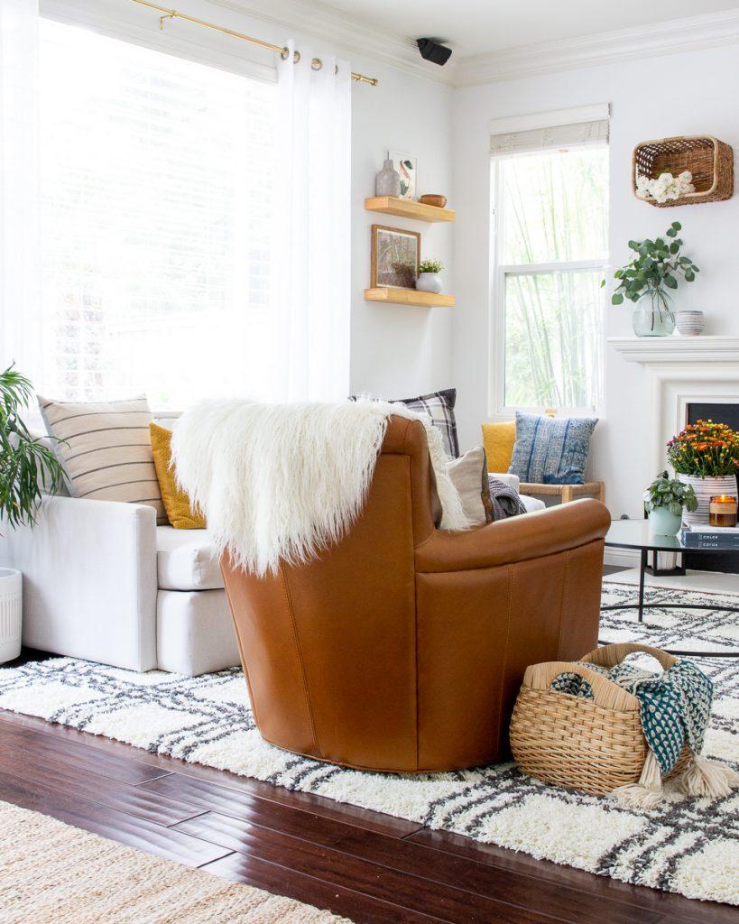 fall family room decor Walmart target mid century modern baskets on wall