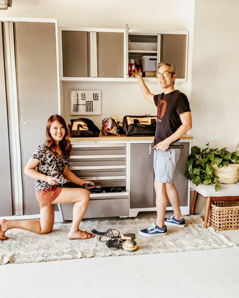 Anita and Travis at a sleek garage tool center