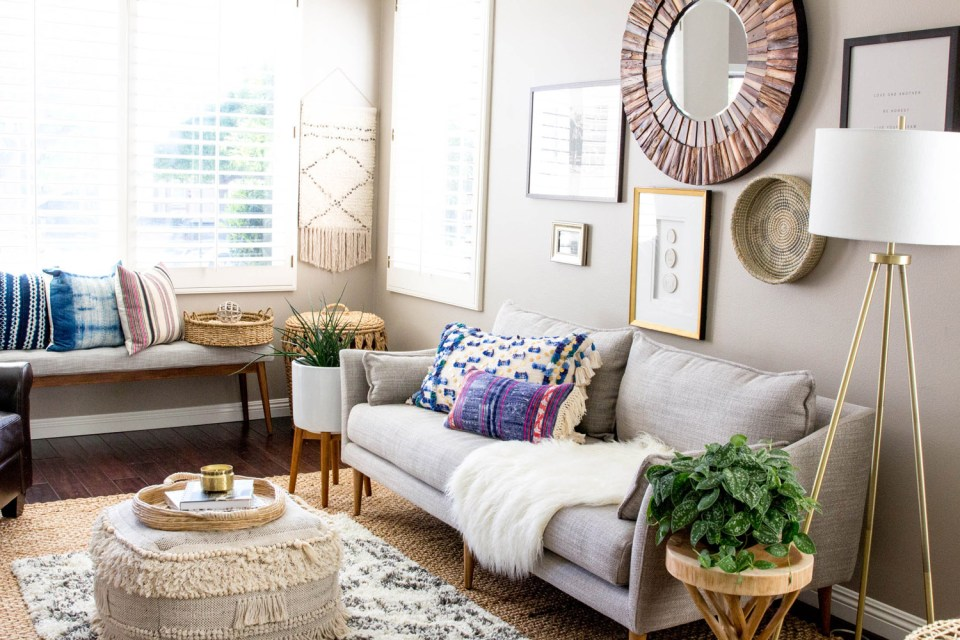 Bright Living Space with grey couch and gallery wall