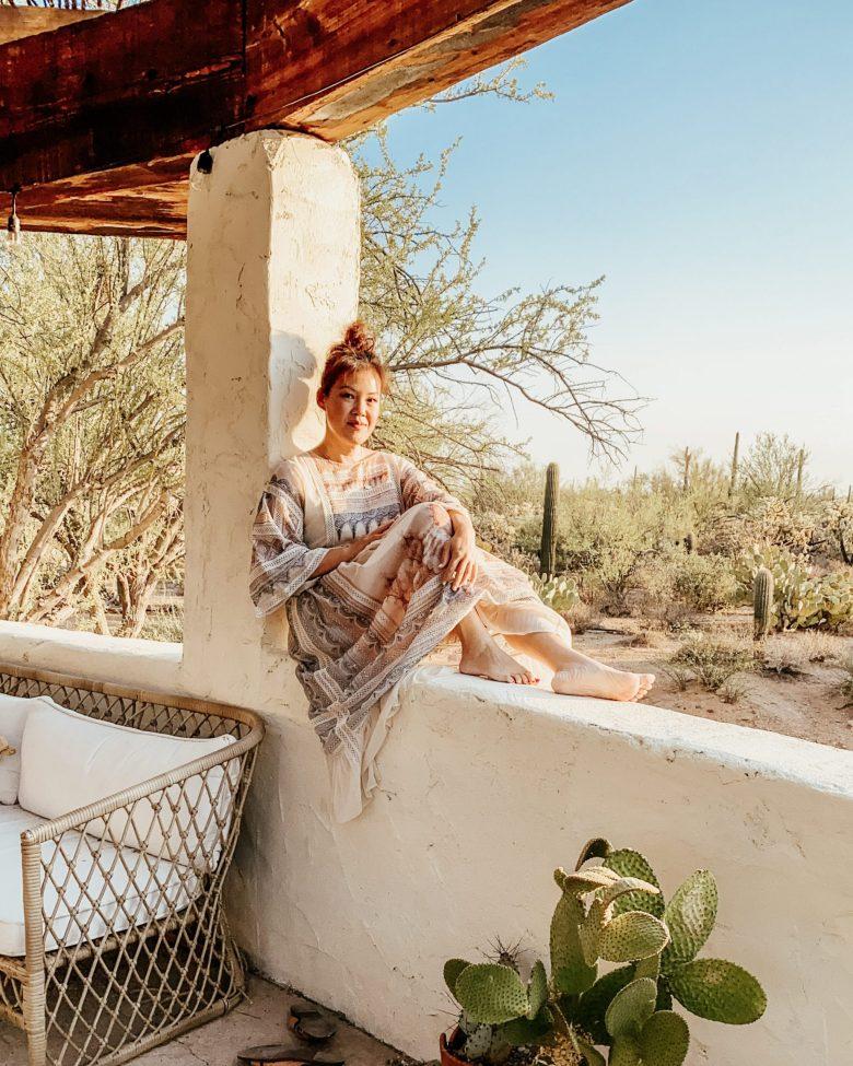 Anita enjoying the desert landscape