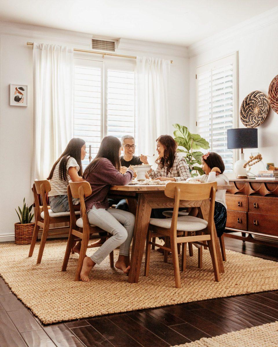The Yokotas gathered around the dining table