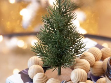 a sweet, tiny tree, wrapped in a garland