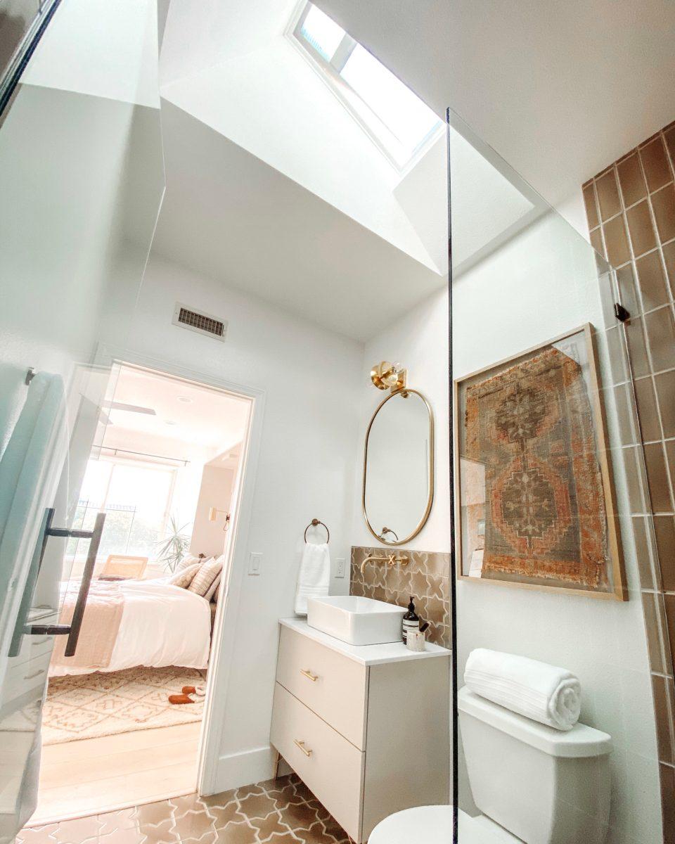 An upward view of the Desert Bathroom, highlighting the VELUX skylight