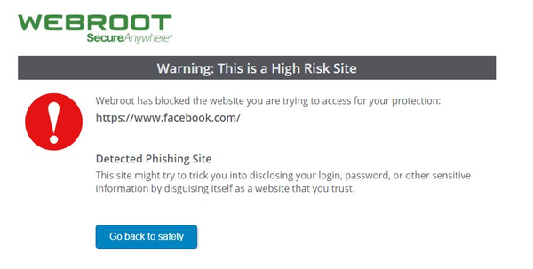 Webroot blocks facebook
