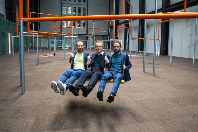 Members of the Danish collective SUPERFLEX (L-R) Jakob Fenger, Rasmus Nielsen and Bjornstjerne Christiansen.