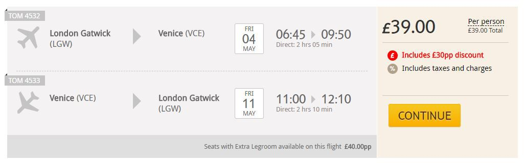 Return flights from London Gatwick to Venice for £39