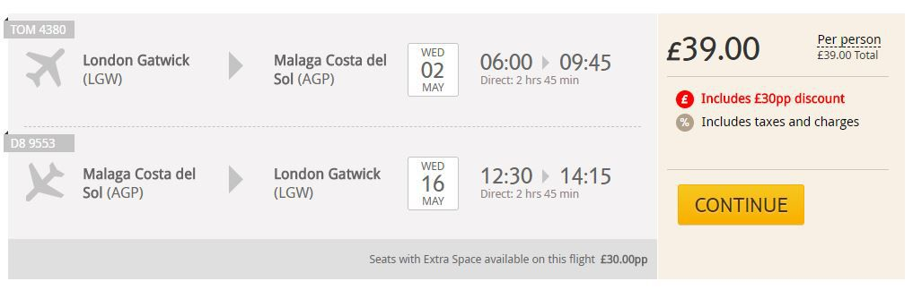 Return flights from London Gatwick to Malaga for £39