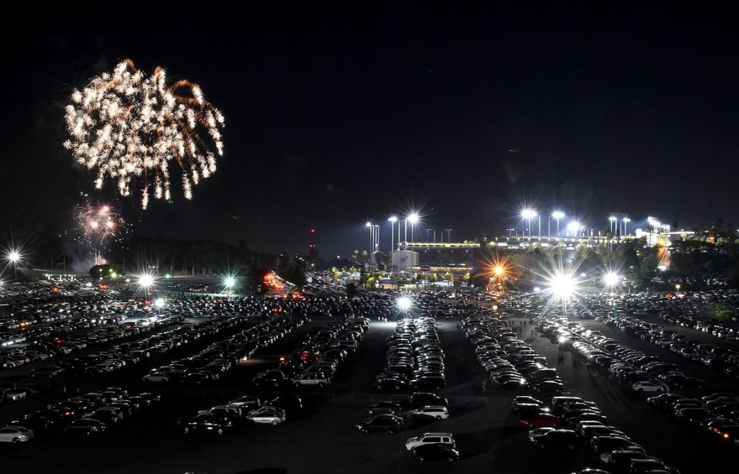 Fireworks explode over Dodger Stadium after the game between the Los Angeles Dodgers and the Pittsburgh Pirates.