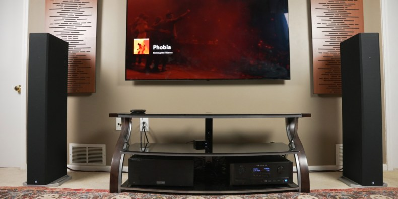 Definitive Technology BP9060 speakers in a home theater setup.