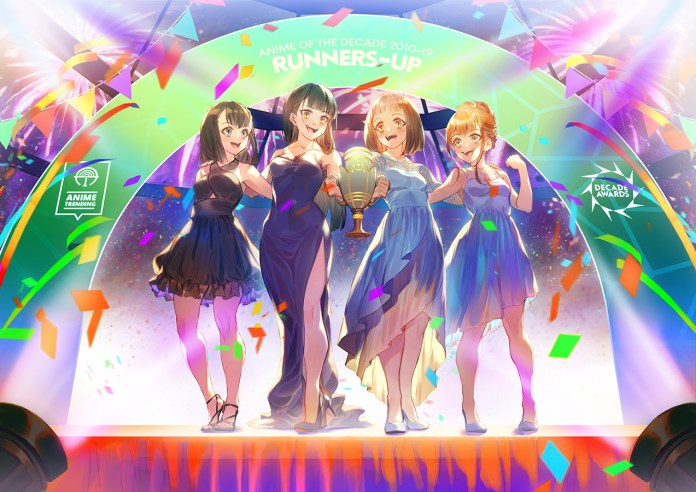 Yuzuki, Shirase, Mari, and Hinata receives Runner-Up trophy for Anime of the Decade