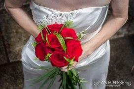 Flower bouquet and wedding dress