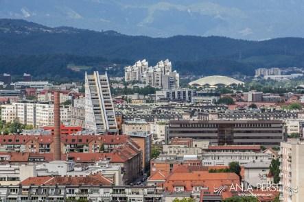 Cityscape of modern Ljubljana.