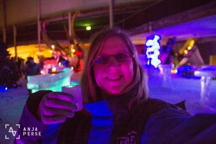 Drinking Finlandia vodka in Ice Bar, Helsinki, Finland