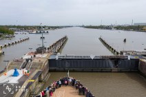 Crossing through the locks of Kiel Canal, Germany