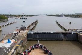 Crossing through the locks of Kiel Canal, Germany