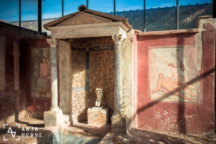 Garden shrine in the garden of one of the villas in Pompeii
