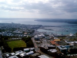 360° view from the Sky Tower in Auckland/New Zealand - Northern Motorway and Westhaven Marina