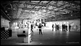 The old factory building in which the exhibitin takes place.