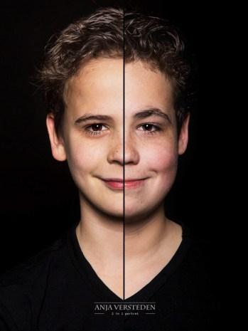 twee broertjes, een gezicht. 2in1 portret