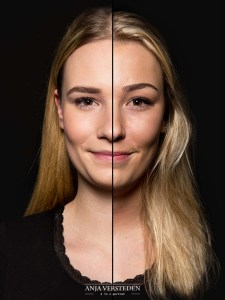 Twee zusjes, één gezicht | 2 in 1 portret foto