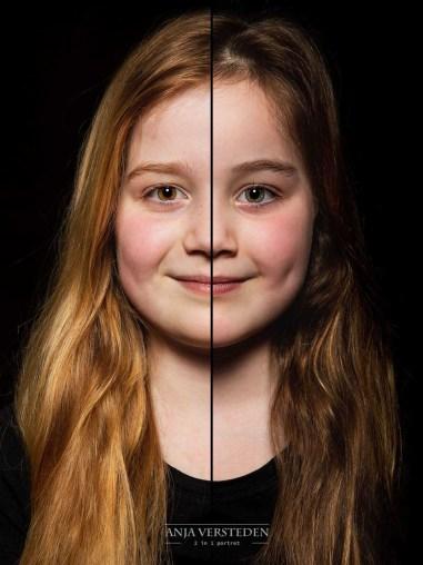 Halve gezichten portret foto