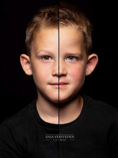 twee halve gezichten foto