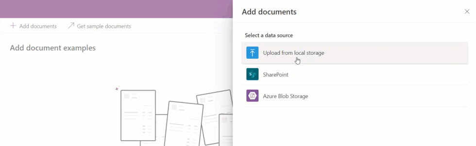 Add documents from different data sources.