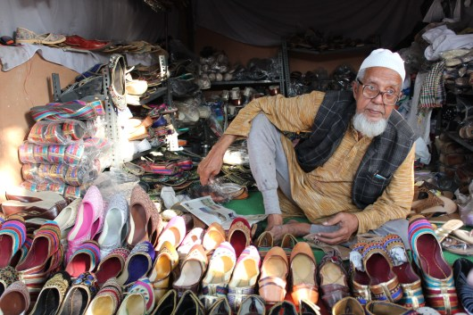 Shoe merchant at Shilparamam Market does not want to bargain