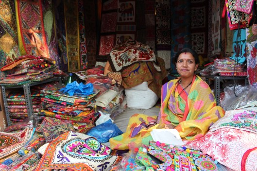 Purse and scarf merchant at Shilparamam posed beautifully for her picture