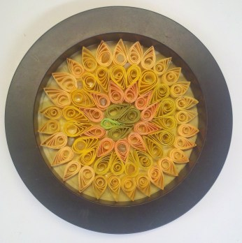 quilling with handmade paper and agates