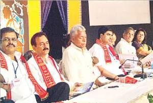 A view of the podium of Agra Bhojpuri Sammelan