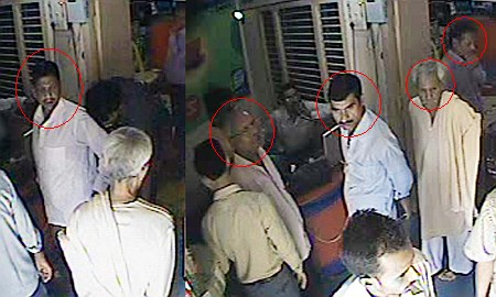 Five thieves just before the theft caught on camera
