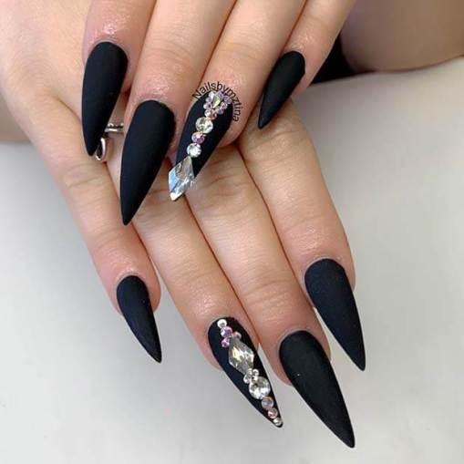 Matte Stiletto Nails with Diamond Nail Art