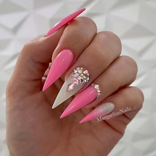 Stylish Nude Nails with Diamonds