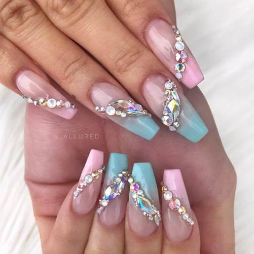 Ombre Nail Art Design with Rhinestones