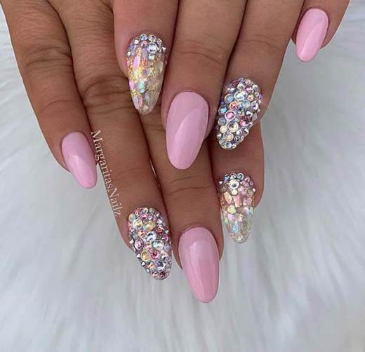 Sparkly Short Pink Nails with Rhinestones