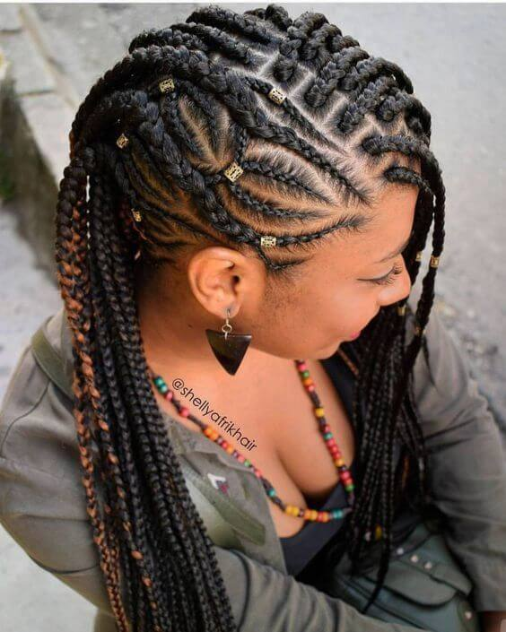 Small knotless box braids with beads