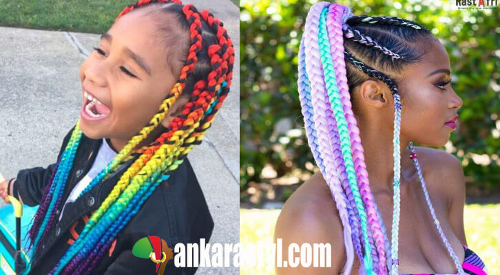 Stupendous 26 Awesome Rainbow Box Braids Hairstyles Ponytails To Copy Now Schematic Wiring Diagrams Amerangerunnerswayorg