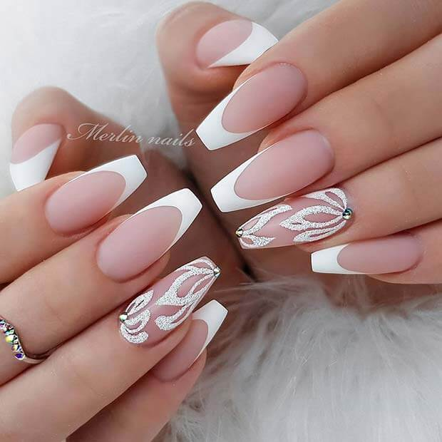 26+ Best White Glitter Nails Tutorial Ideas To Copy In 2021