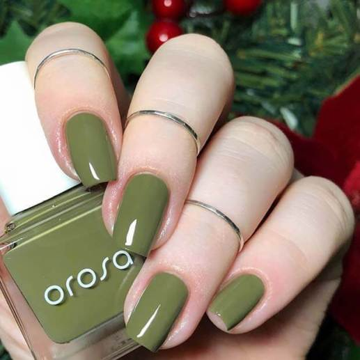 Simple olive green Nails Ideas