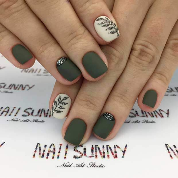 Pretty Short olive green Nails