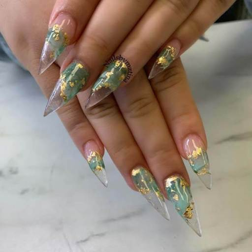Clear Nails with Olive Color