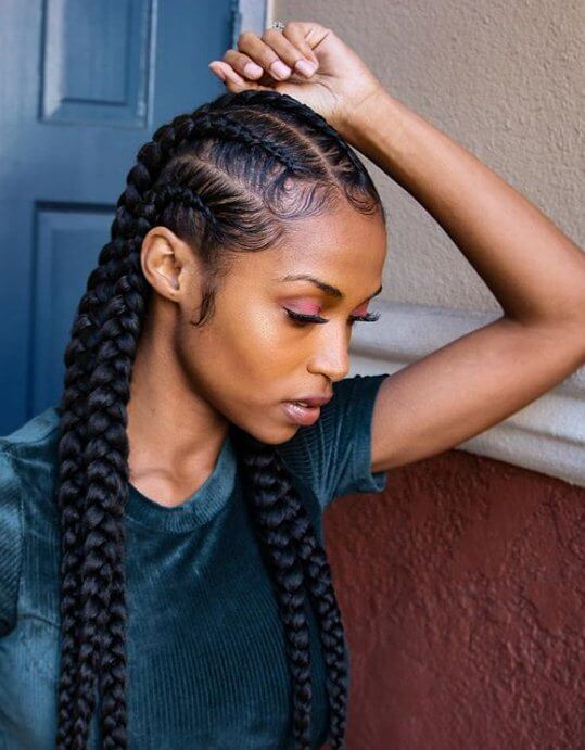Straight Back Goddess Braids Hairstyle