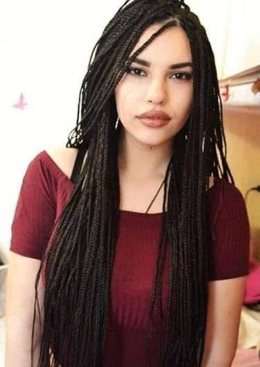 4. Thin Box braids With a Side Part