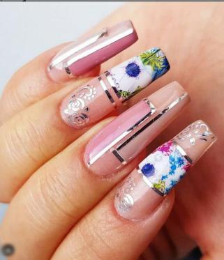 Nude and Floral Nails