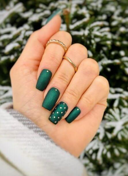 Matte Nails with Gold Designs