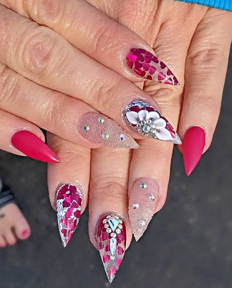 4. Pastel Nails with Flowers