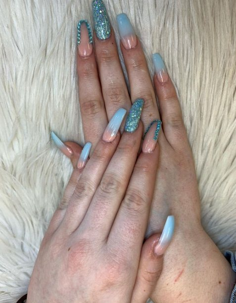 Nude and Blue Ombre Nails