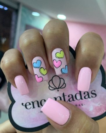 10. Pastel Heart Nails for Spring