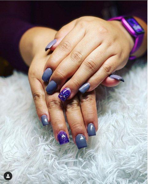 4. Short Purple Nails